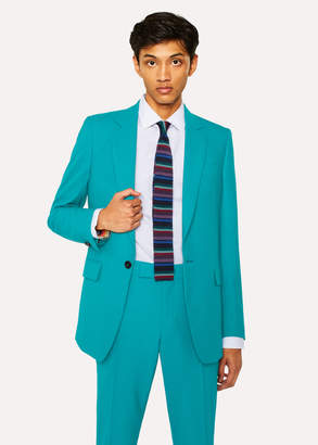 Paul Smith Men's Slim-Fit Turquoise Hopsack Wool Blazer