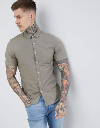 Asos Design Slim Oxford Shirt In Light Khaki With Short Sleeves