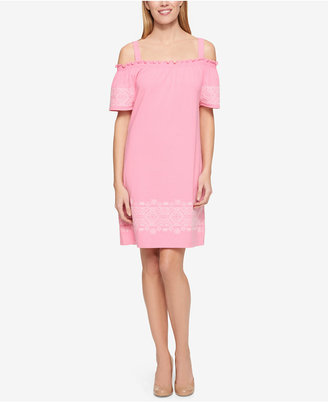 Tommy Hilfiger Embroidered Off-The-Shoulder Dress, Only at Macy's $99.50 thestylecure.com