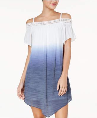 BCX Juniors' Dip-Dyed Off-The-Shoulder Shift Dress