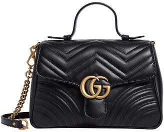Gucci Leather Marmont Matelasse Top Handle Bag