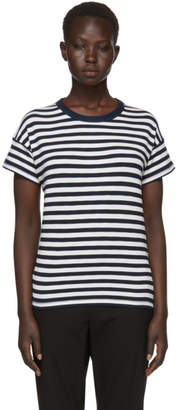 Rag & Bone Navy and White Striped Kat Split Back T-Shirt
