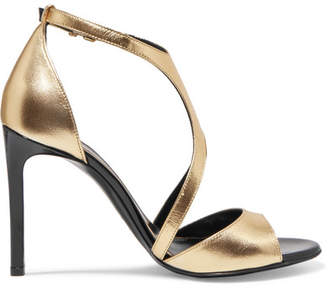 Lanvin Harnais Metallic Leather And Patent-leather Sandals - Gold