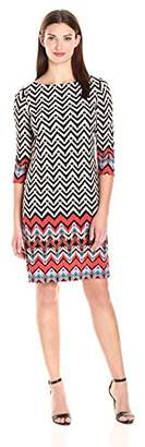 London Times Women's 3/4 Sleeve Round Neck Jersey Shift Dress,6