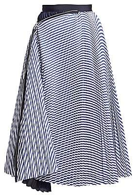 Sacai Women's Solid & Striped Pleated Skirt