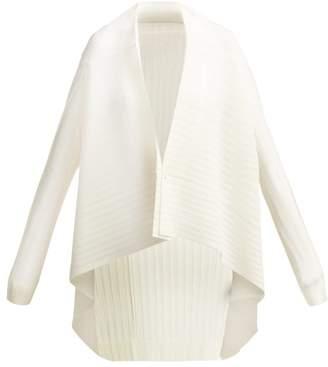 Pleats Please Issey Miyake Pleated Waterfall Hem Buttoned Jacket - Womens - White