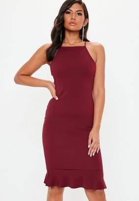 Missguided Burgundy Scuba Square Neck Frill Dress