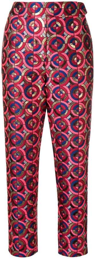cropped metallic-jacquard trousers
