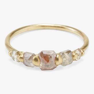 Polly Wales 5 Cushion Peach Diamond Halo Ring