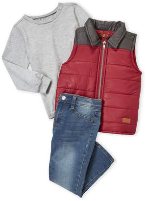 7 For All Mankind Toddler Boys) 3-Piece Puffer Best and Jeans Set