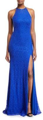 Jovani Beaded Cutout-Back Halter Gown
