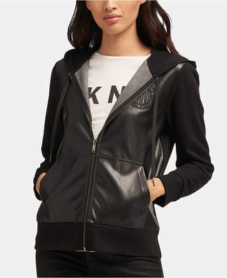 DKNY Faux-Leather Zip-Up Hooded Jacket