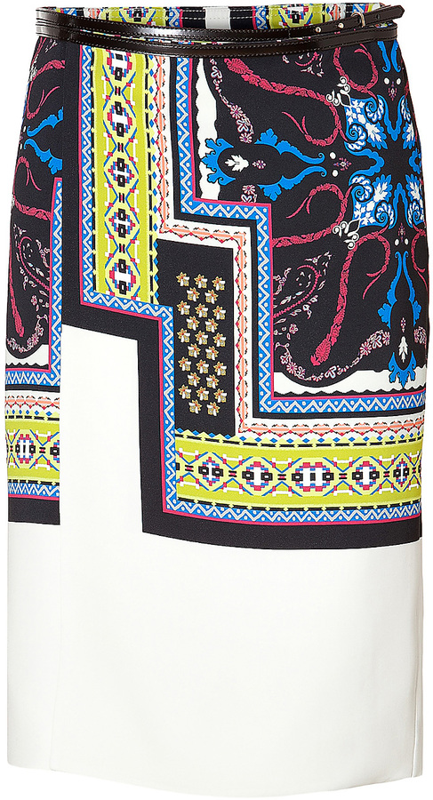 Etro Stretch Patterned Wrap Skirt