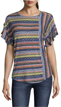 John Paul Richard Printed Knit Top with Ruffle Sleeves