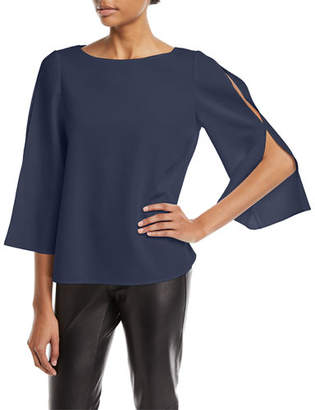 Lafayette 148 New York Candace Finesse Crepe Split-Sleeve Blouse