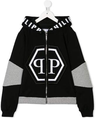 Philipp Plein Junior logo zipped hoodie