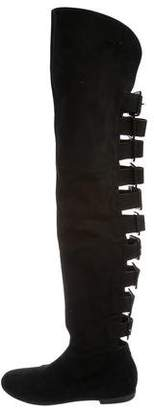 Giuseppe Zanotti Suede Buckle Accented Over-The-Knee Boots