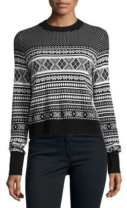 Veronica Beard Mixed-Media Pleat Back Sweater, Black/White $395 thestylecure.com