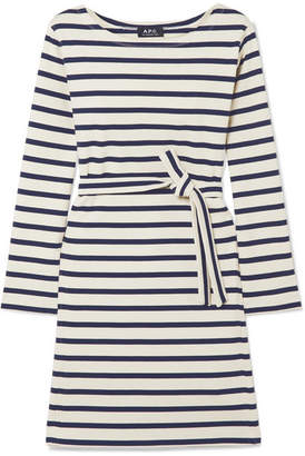 A.P.C. Belted Striped Cotton-jersey Dress - Cream