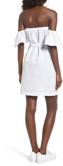 Women's Mimi Chica Seersucker Off The Shoulder Dress 5