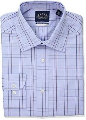 Eagle Men's Non Iron Stretch Collar Regular Fit Glen Plaid Dress Shirt