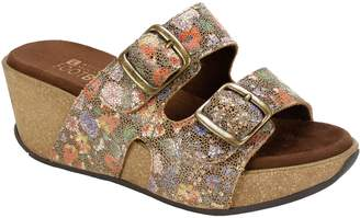 White Mountain Leather Platfrom Wedge Sandals -Chandler