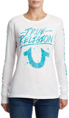 True Religion WOMENS LONG SLEEVE LOGO GRAPHIC SHIRT