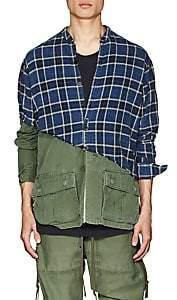 Greg Lauren Men's Plaid Cotton Flannel & Ripstop Studio Shirt - Navy