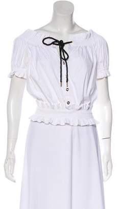Caroline Constas Short Sleeve Button-Up Top