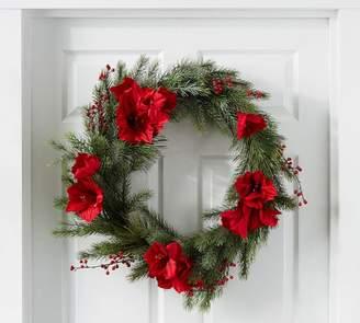 Pottery Barn Faux Amaryllis Berry 20'' Wreath