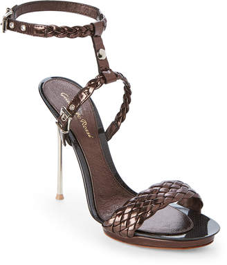 Gianvito Rossi Braided Strap Patent Leather Sandals