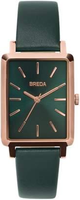 BREDA Baer Rectangular Leather Strap Watch, 26mm