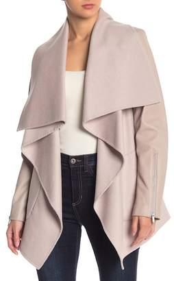 BCBGMAXAZRIA Ryder Wool Blend Leather Sleeve Coat