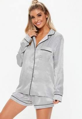 Missguided Gray Satin Shorts And Shirt Pyjama Set