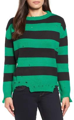 Modern Designer Destroyed Stripe Sweater
