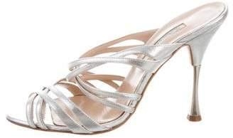 Oscar de la Renta Metallic Slide Sandals