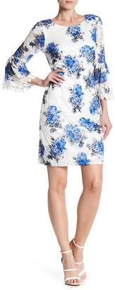 Robbie Bee Floral Lace 3/4 Sleeve Dress