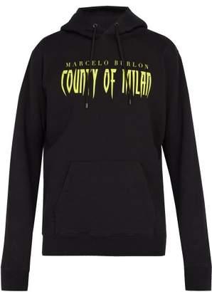 Marcelo Burlon County of Milan Sleepwalker Cotton Hooded Sweatshirt - Mens - Black