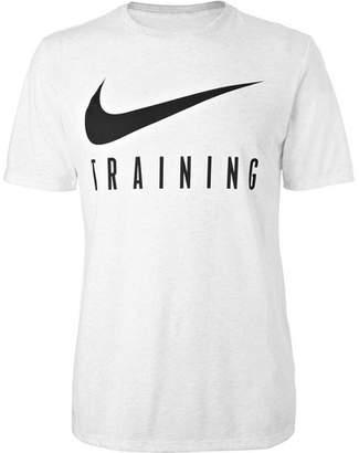 Nike Training - Printed Mélange Cotton-blend Dri-fit T-shirt - Light gray