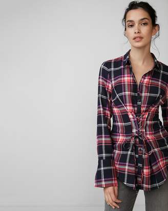 Express Corset Front Cotton Flannel Shirt