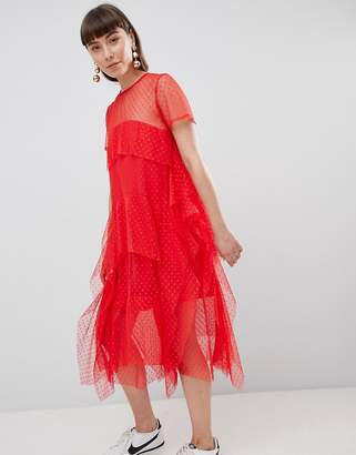 Asos DESIGN Dobby Mesh Midi Tshirt Dress with Layered Ruffles