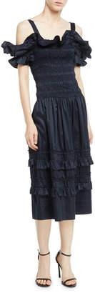 Rebecca Taylor Off-the-Shoulder Smocked Ruffle Dress