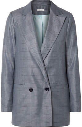 Ganni Merkel Oversized Checked Silk And Wool-blend Blazer - Blue