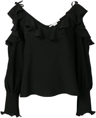 Stella McCartney ruffled cold-shoulder blouse