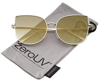 Zerouv Women's Oversize Slim Metal Frame Colored Mirror Flat Lens Cat Eye Sunglasses Cateye