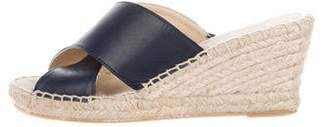 Neiman Marcus Leather Espadrille Wedges