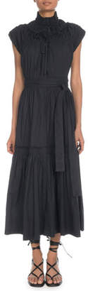 Proenza Schouler Sleeveless Shirred Cotton Tiered Maxi Dress w/ Self-Belt