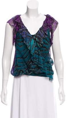 Diane von Furstenberg Silk Tie-Dye Blouse