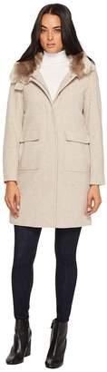 Lauren Ralph Lauren Faux Fur Lined Wool w/ Hood and Patch Pocket Women's Coat