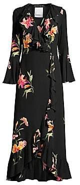 Etro Women's V-Neck Floral Silk Midi Dress